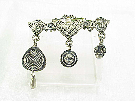 Silver Tone Brooch With Dangling Pieces Signed Charmante