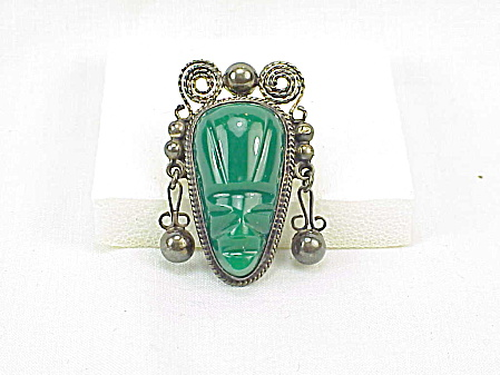 Vintage Mexican Sterling Silver Green Onyx Jade Face Or Mask Brooch