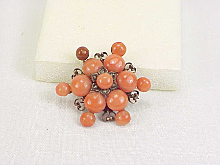 Antique Victorian Edwardian Starburst Salmon Red Coral Bead Brooch