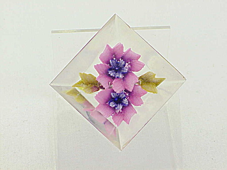 Vintage Reverse Carved Lucite Brooch With Pink And Purple Flowers