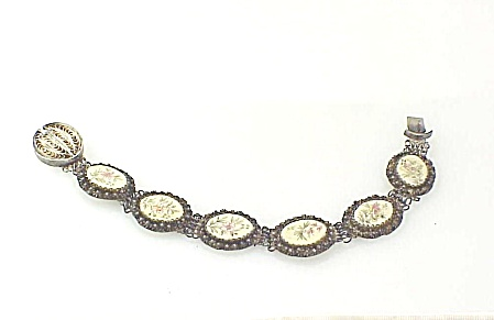 Antique Chinese Asian Silver Filigree Carved Bone Bracelet With Flower