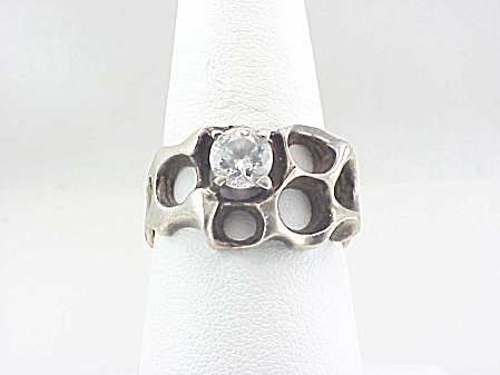 Signed Taxco Mexico Modernistic Sterling Silver Cubic Zirconia Ring