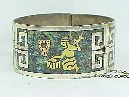 Signed Eagle 3 Mexican Sterling Silver Mixed Metals Mosaic Bracelet