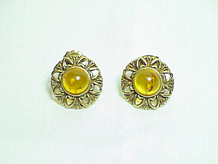 Antiqued Gold Tone Amber Cabochon Pierced Earrings
