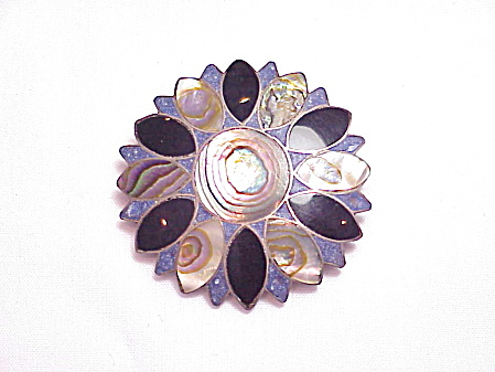 Vintage Signed Mexican Sterling Slver Onyx Lapis Brooch Pendant