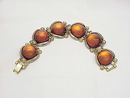 Chunky Amber Lucite And Pearl Matte Gold Tone Bracelet