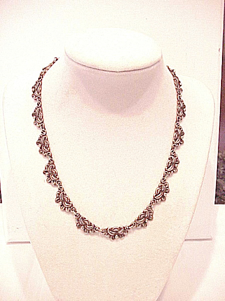 Antique Art Nouveau Sterling Silver Flower Choker Necklace