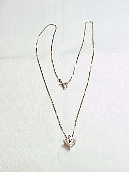 Sterling Silver Necklace With Square Clear Rhinestone Pendant