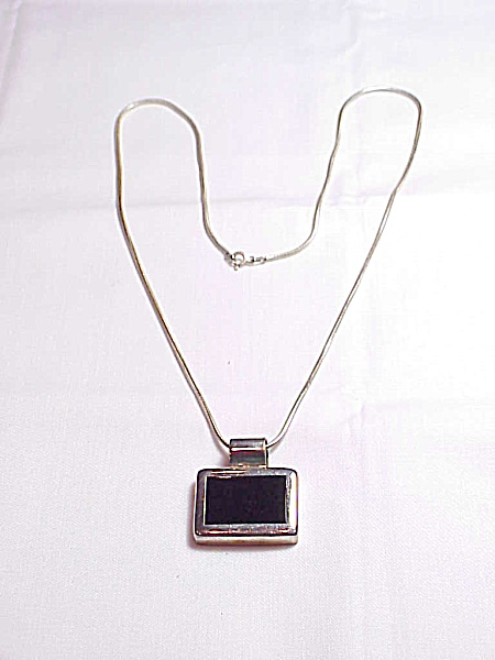 Black Enamel Sterling Pendant On Sterling Silver Snake Chain Necklace