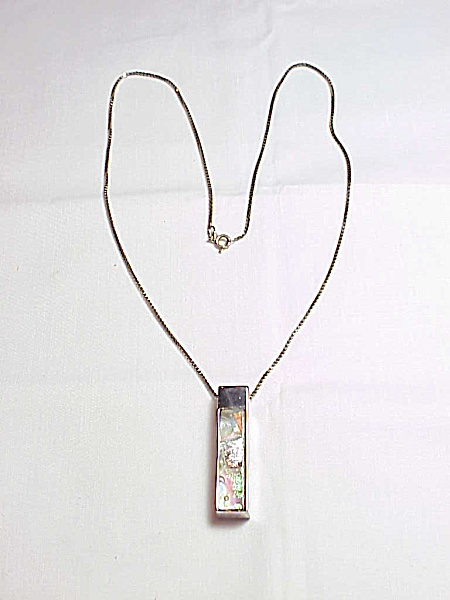 Sterling Silver Dichroic Glass Pendant Necklace