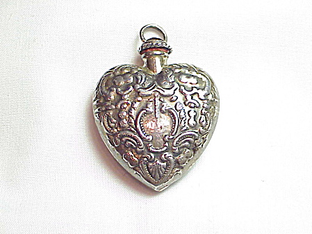 Victorian Sterling Silver Heart Snuff Or Perfume Bottle Pendant