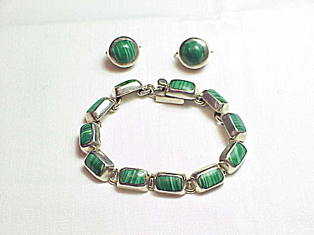 Taxco Mexico Sterling Silver Malachite Bracelet And Pierced Earrings