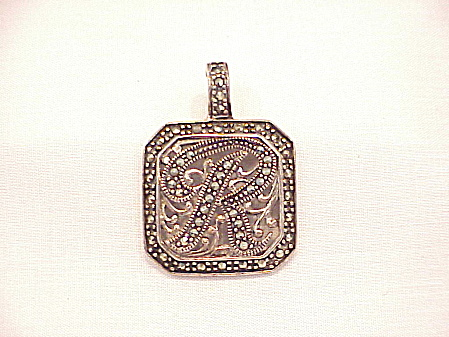 Sterling Silver And Marcasite Initial R Pendant Or Enhancer