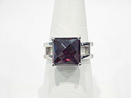 Sterling Silver And Dark Ruby Red Cushion Cut Glass Ring