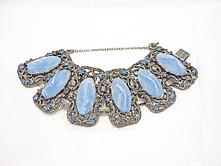Vintage Wide Chunky Blue Rhinestone And Marbled Lucite Bracelet