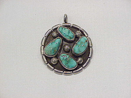 Native American Sterling Silver And Turquoise Pendant