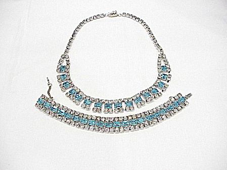 Vintage Blue And Clear Rhinestone Necklace And Bracelet Set
