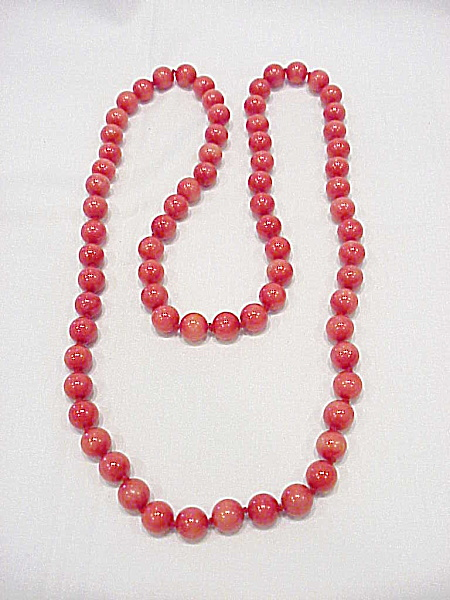 Red Quartz, Coral Or Jade Bead Necklace