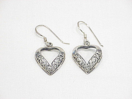 Dangling Sterling Silver Filigree Heart Pierced Earrings