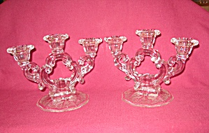 Pair Crystal Gloria 3 Lite Keyhole Stem Candl