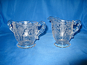 Cambridge Rose Point Cream & Sugar Set