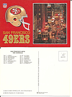San Francisco 49 Ers 1984 Schedule Postcard Cs11512