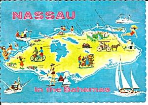 Map Of Nassau In The Bahamas Post Card Cs11688