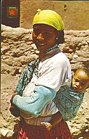 Morrocan Country Woman And Child Postcard Cs11717