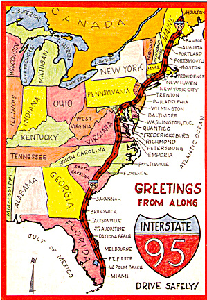 Map Of Interstate 95 I 95 Postcard Cs6893