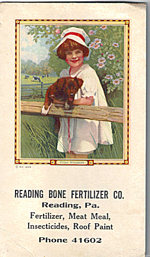 Reading Bone Fertilizier Co Reading Pa Ink Blotter Cs7593