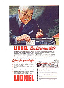 Lionel Train Ad Lifetime Gift 1943
