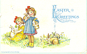 Frances Brundage Easter Little Girls Postcard P19334 1914