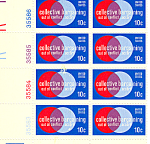 #1558 10 Cent Collective Bargaining Plate Block