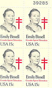 #1823 - 15 Cent Emily Bissel Plate Block
