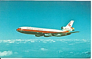 World Airways Dc-10-30cf Over Lake Tahoe Postcard P36201