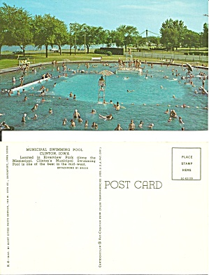 Clinton Ia Riverview Park Swimming Pool P38657