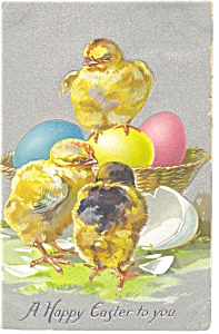 Easter With Chicks Postcard Raphael Tuck Sons 1910 P7602