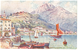 Menton France Port View Tuck Oilette Postcard P8409