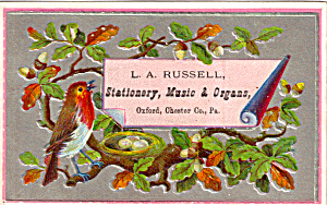 L A Russell, Staionary,music Etc Trade Card