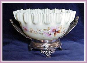 Brides Basket Enameled Custard Glass