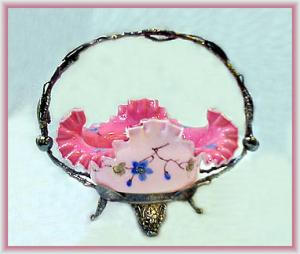 Beautiful Enameled Pink Cased Brides Basket