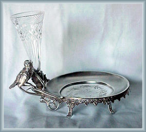 Figural Card Receiver With Pattern Glass Vase
