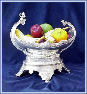 Fruit Bowl Victorian Silverplate Figural