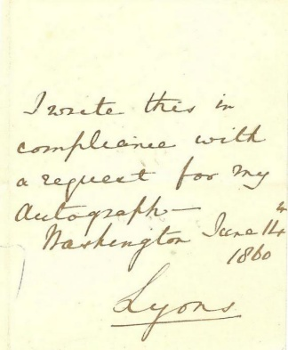 Autograph Lord Richard B.p. Lyons