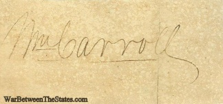 Autograph General William Carroll