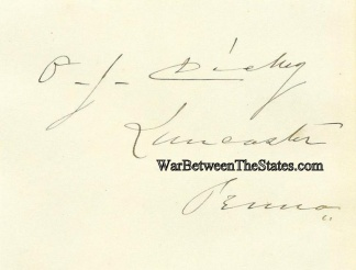 Autograph, Oliver J. Dickey