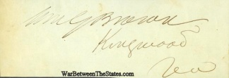 Autograph, William G. Brown