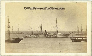 Cdv, Civil War Era View Of Several Ships