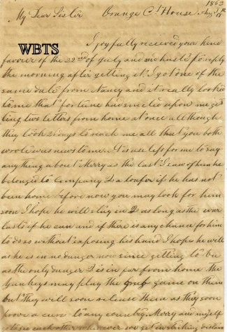 1863 Confederate Artilleryman's Letter, Ashland, Virginia Light
