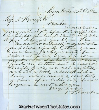 1862 Confederate Business Letter From Augusta, Georgia